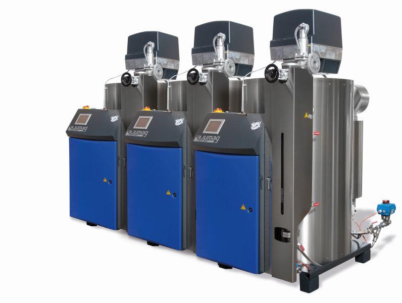 3 x 560 Kilogramm Dampf pro Stunde ermöglichen die bestmögliche Auslastung der Kessel sowohl bei geringem Bedarf als auch bei Abnahmespitzen. Bild: Jumag
