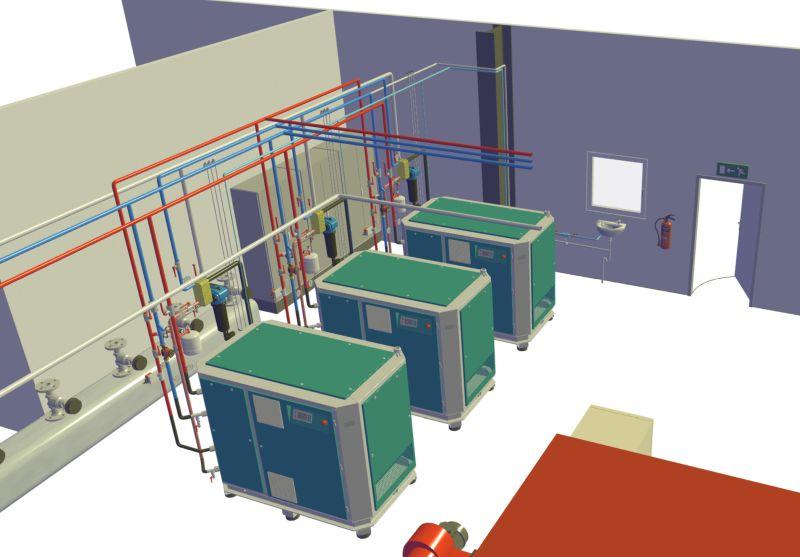 Vor der Installation bietet Renner Kompressoren ein umfangreiches Engineeringpaket inklusive Entwurf der Druckluftanlage in bestehenden Räumen. Bild: Renner