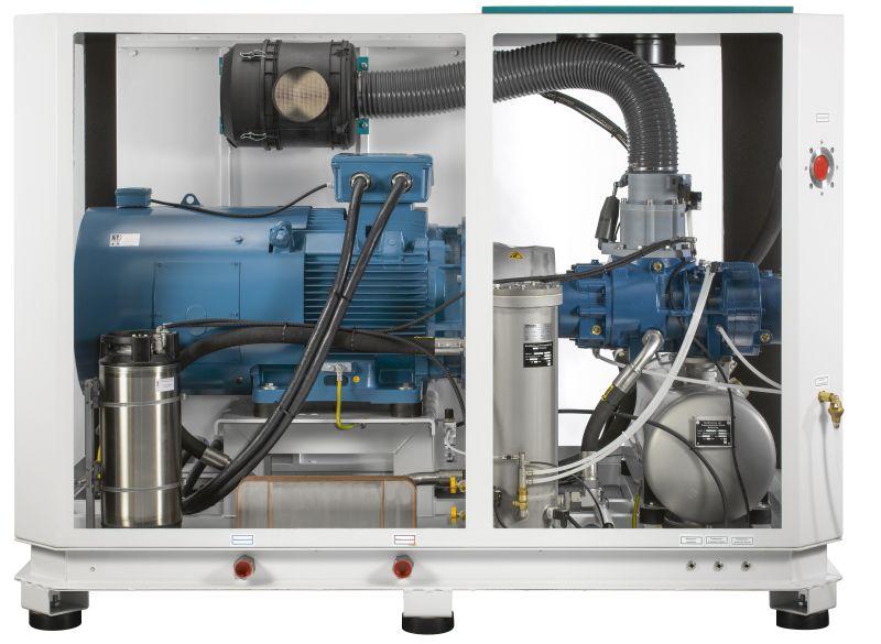 Innenansicht eines wassereingespritzten Schraubenkompressors. Bild: Renner