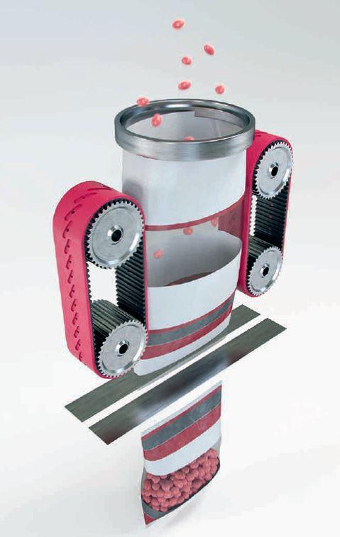 Große Konstanz bei hohen Taktzahlen bieten die Esband«-Vakuumabzugsriemen von Max chlatterer.
