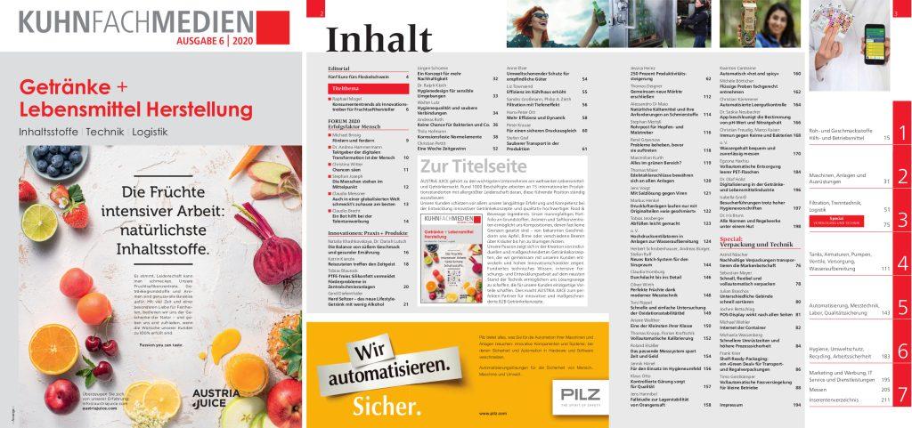 Titelseite und Inhaltsverzeichnis »Getränke + Lebensmittel Herstellung 2020«