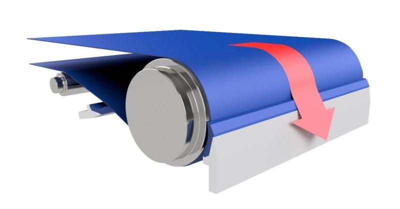 Die neuen Abstreifer aus TPU entfernen Produktrückstände vom Band, ohne dessen Oberfläche zu beschädigen.