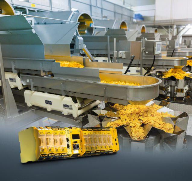 Die konfigurierbare, sichere Kleinsteuerung wacht als zentrale Sicherheitsinstanz über die Produktionslinie für Tortilla-Chips. Bilder: Pilz