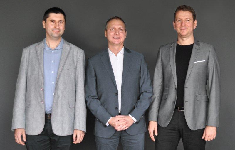 Die neue Geschäftsführung: Bartłomiej Berger, Piotr Cieplinski, Marek Winkler (v. l. n. r.; Bild: Ruland Tychy).
