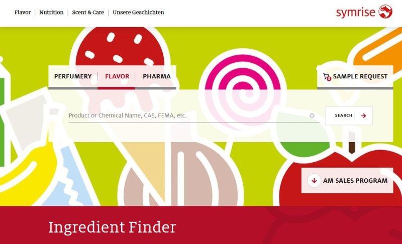 Der neue »Ingredient Finder« (Screenshot: symrise.com).