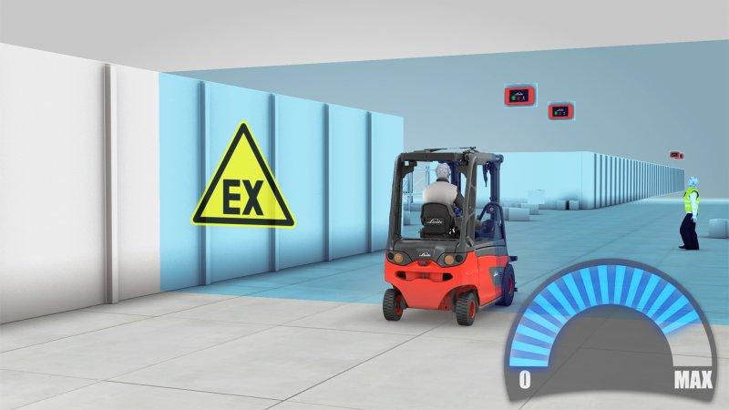 Das Stapler-Assistenzsystem ist auch für Ex-geschützte Flurförderzeuge der Zonen 2/22 verfügbar (Bild: Linde Material Handling).