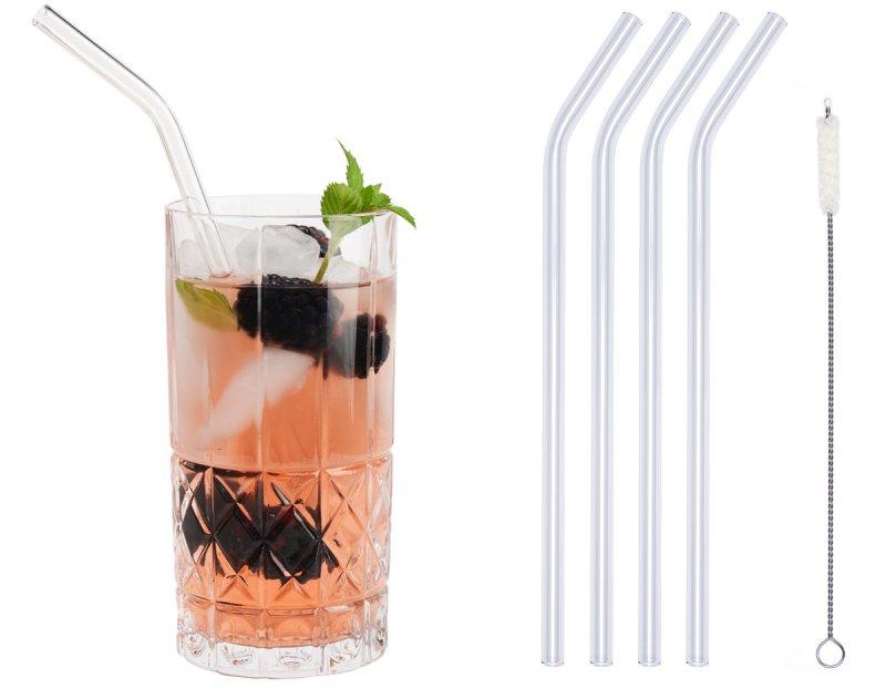 Die Glastrinkhalme sind in verschiedenen Ausführungen erhältlich und können auch in der Spülmaschine gereinigt werden (Bild: Optitherm).