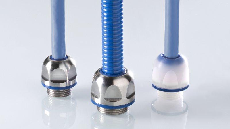 Die Hygiene-Kabelverschraubung aus Edelstahl oder Polyamid ist kombinierbar mit Hygiene-Schutzschläuchen (Bild: Pflitsch).