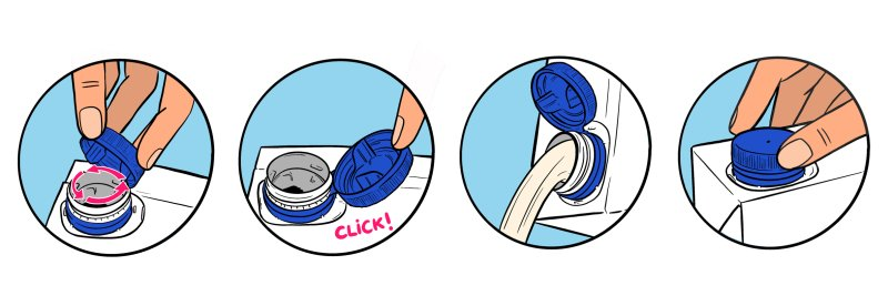 Tethered Caps (befestigte Kappen an der Packung) sollen auch die Convenience weiter verbessern (Bild: SIG).